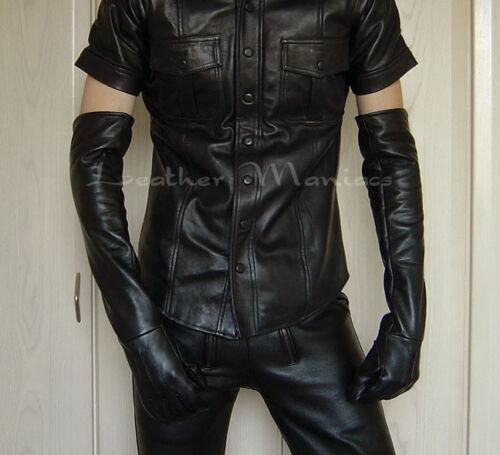New long black leather gloves mens