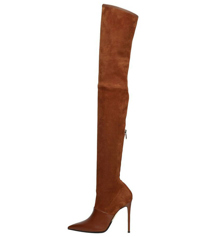 Women Pointed Toe Thigh High Over the Stiletto Knee Boots Stiletto the Zipper Black Camel b05762