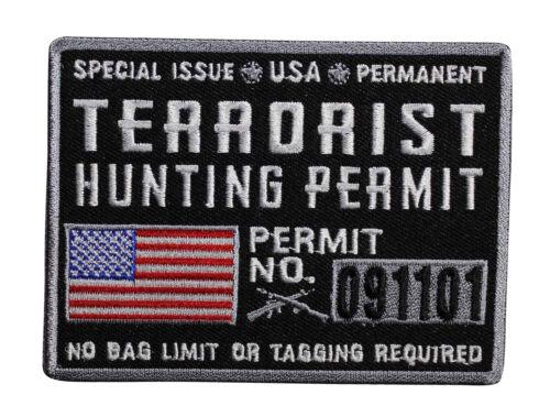 Military Veteran Hunter Biker  049-U Terrorist Hunting Permit Iron On Patch