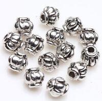 50 Tibetan Silver Lantern Charm Loose Spacer Bead Bracelet Jewelry Finding 4mm