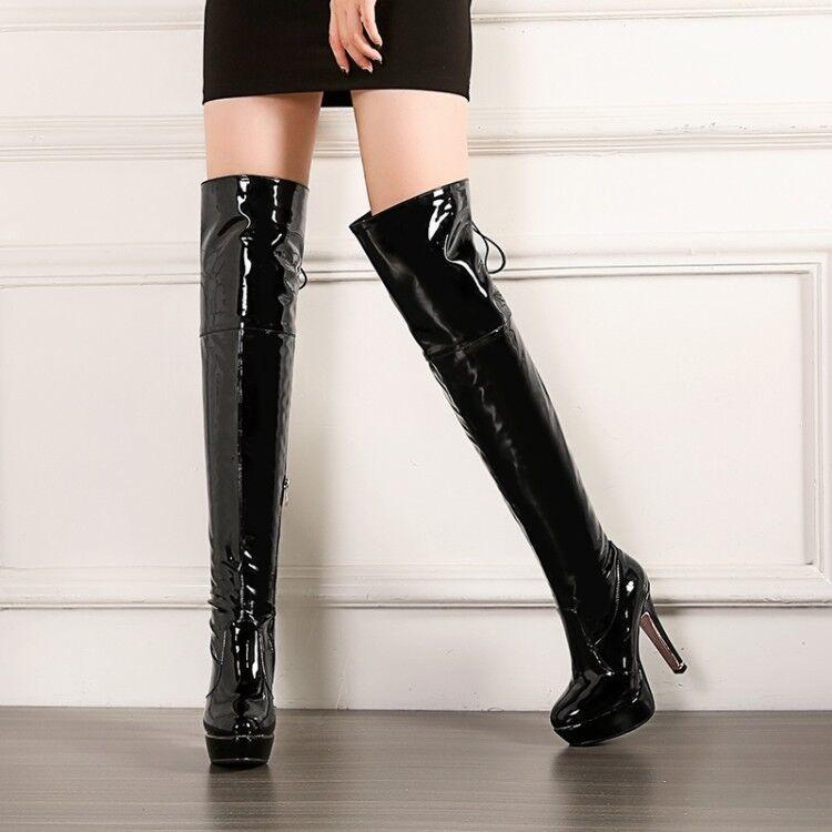 Femmes Slim plateforme talon haut cuir verni solides ZIP sur bottes hautes