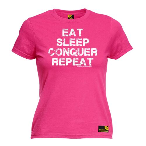 Eat Sleep Conquer Repeat WOMENS T-SHIRT Body Building Gym Workout birthday gift