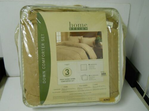 Home Design Tibet Faux Suede Down King Size Comforter   Pillow Shams Stone Tan