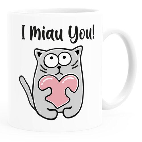 Kaffee-Tasse Spruch I miau you lustige Katze mit Herz Geschenk-Idee Partner