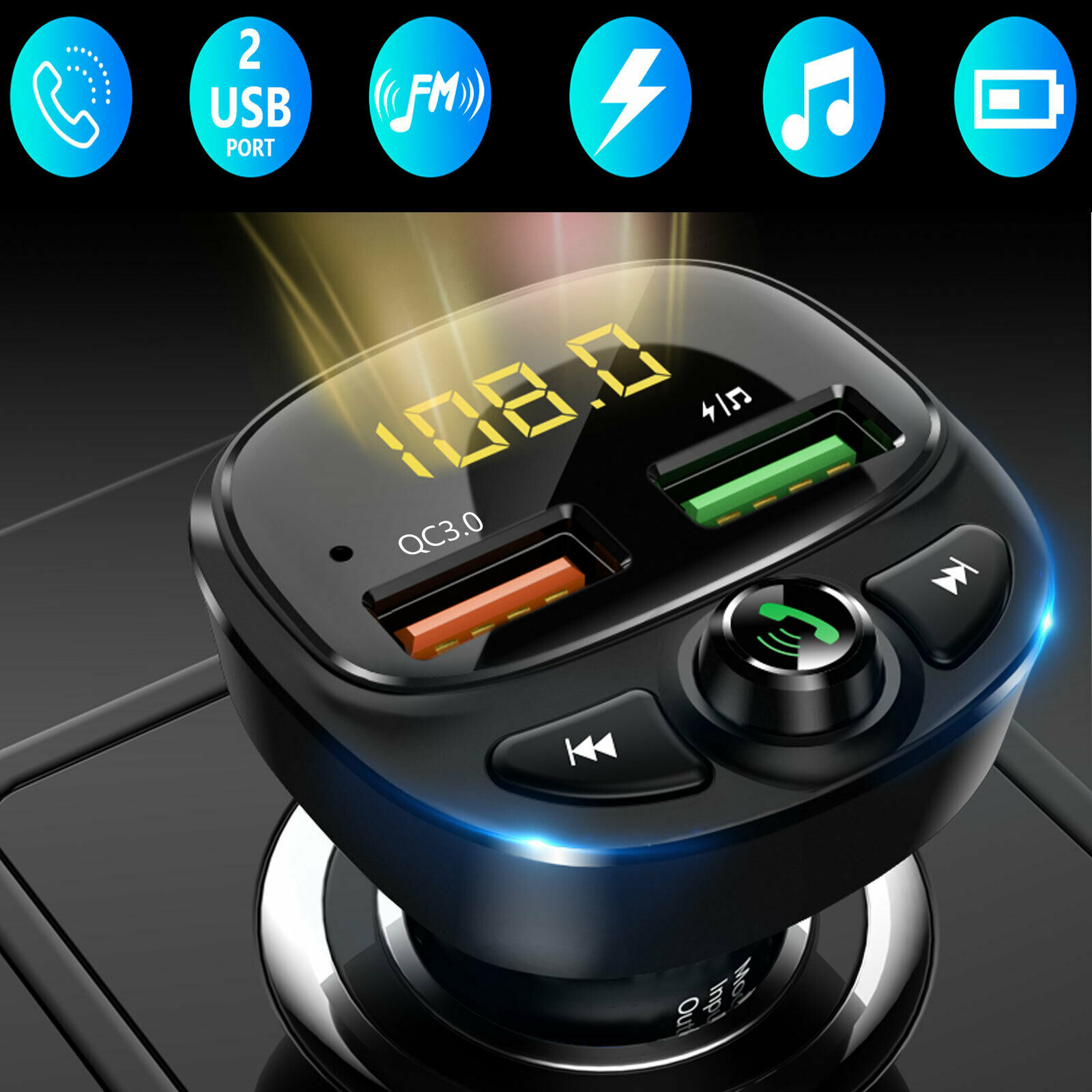 Bluetooth FM Transmitter for Car QC3.0 and Type C PD Bluetooth Wireless Radio Audio Adapter Music Player Fast Charging Car Charger Hands Free Car Kit with Deep Bass and Voice Assistant