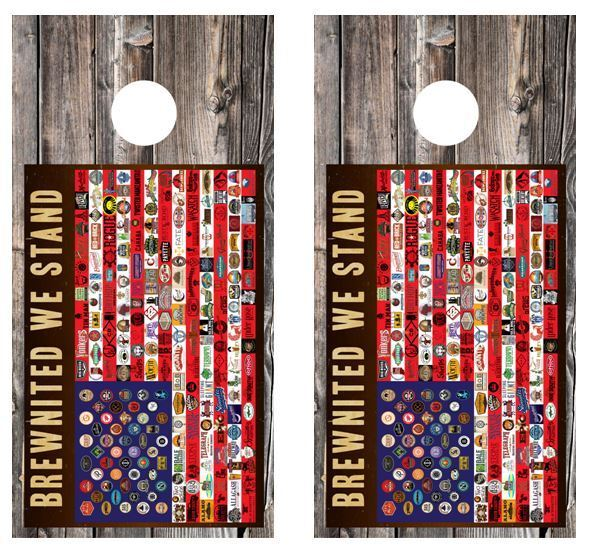 Brewnited We Stand Micro Brews Cornhole Board Game Wraps w FREE SQUEEGEE