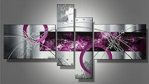 4P-Silver-Purple-Modern-Abstract-Hand-Painted-Oil-Painting-Canvas-Wall-Decor-Art