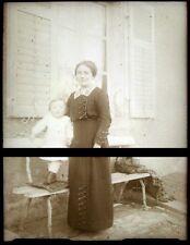 PLAQUE VERRE PHOTO NEGATIF circa.1914 MERE ET FILS mother & son  (B31)