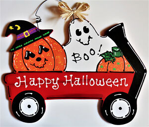 HAPPY HALLOWEEN Witch /& Pumpkin FARM TRACTOR SIGN Wall Door Hanger Fall Plaque