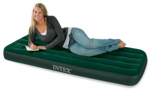 DOUBLE OR SINGLE AIRBED WITH BUILT IN FOOT PUMP AIR BED CAMP MATTRESS