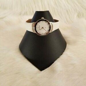 Skagen-Denmark-Ladies-Watch-MOP-Rhinestone-White-Leather-Band-Steel-3310