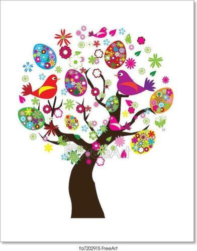 Easter Tree Art Print Home Decor Wall Art Poster D