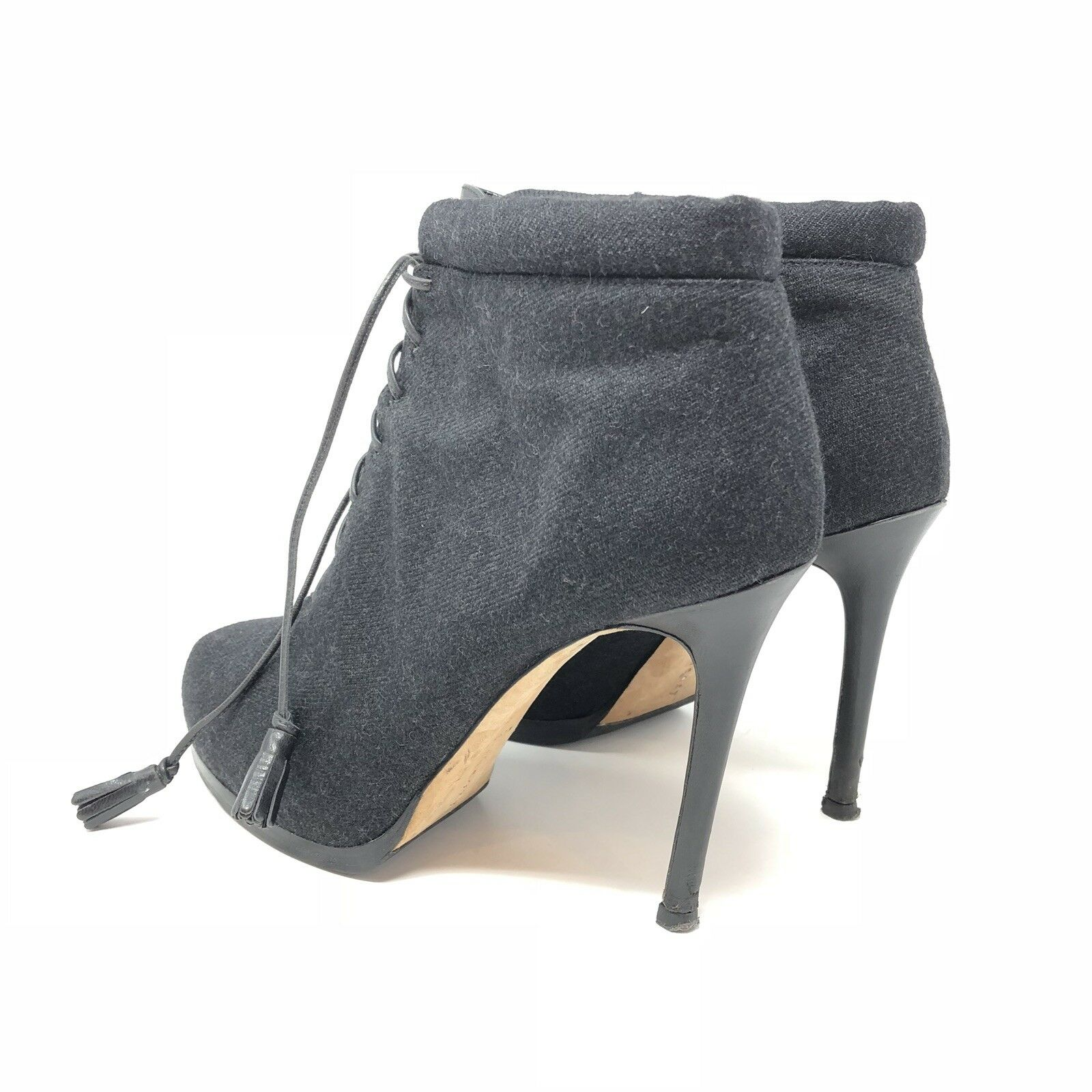THEORY Fabric Fabric Fabric Leather Lace Up Platform Stiletto Ankle Booties Heel Boot 36  7420a6