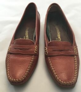 Grasshoppers-Womens-Size-7-N-Brown-Leather-Penny-Loafer-Slip-On-Flats-Shoes