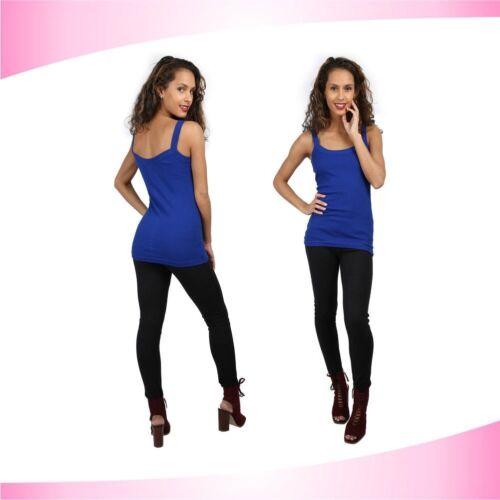 New Women/'s Plain Ribbed Stretchy Ladies Rib Vest Top T-Shirt Tee Rib Strap 8-14