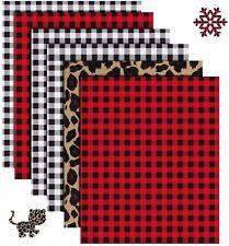 6x Christmas Buffalo Plaid Heat Transfer Vinyl Cricut T Shirt Htv Sheets 12x10