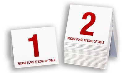 Free shipping Plastic Table Numbers 1-20 Tent Style Red w//white number