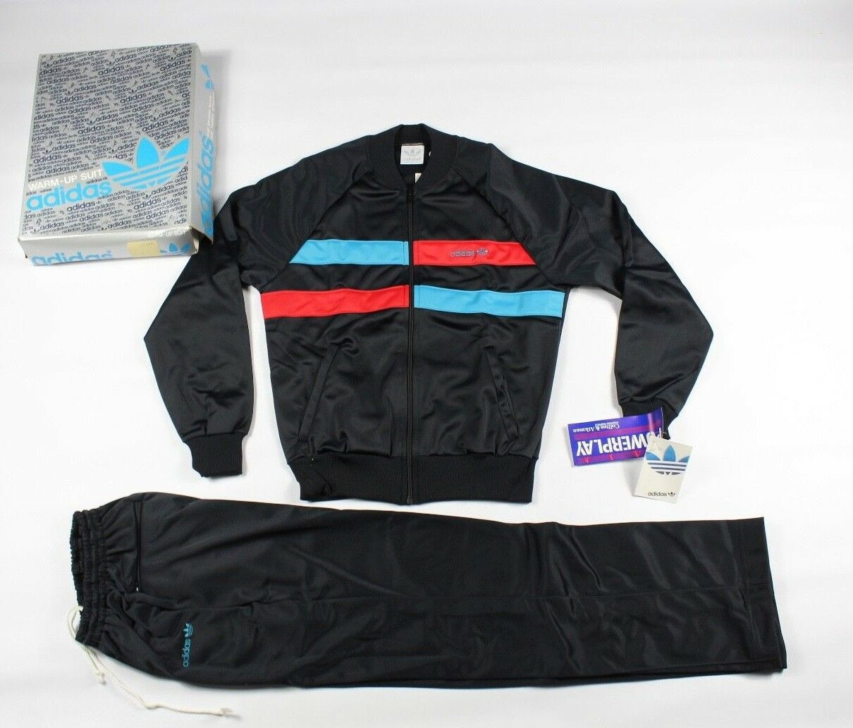 Vtg New 80s Adidas Grand Sort Spell Out Trèfle 2 Pièces Run DMC Survêtement Noir