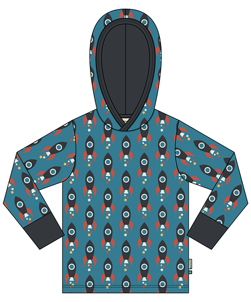 Maxomorra Top Ls Hood Kapuzen Pulli Rakete Hoodie Sweater Bio-baumwolle Neu
