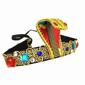 63cb523e422 Image is loading Egyptian-Pharoah-Headband-Cobra-Snake-Jewels-Gold-Cleopatra -