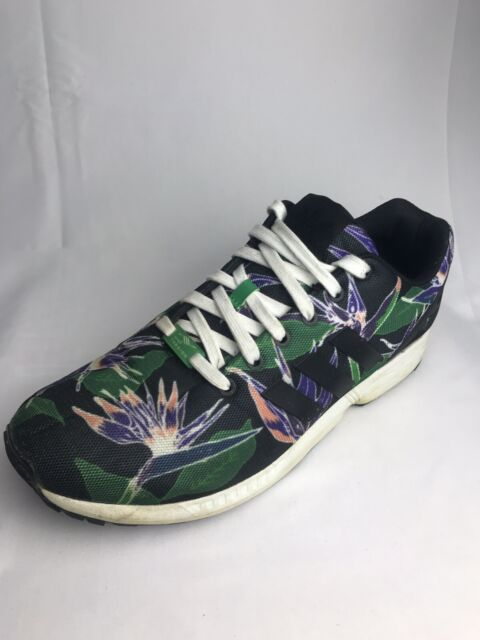 huge selection of 5a76b 367aa Adidas Originals ZX Flux Black/Green Trainers Floral Weed Retro Shoes  (Size: 13)