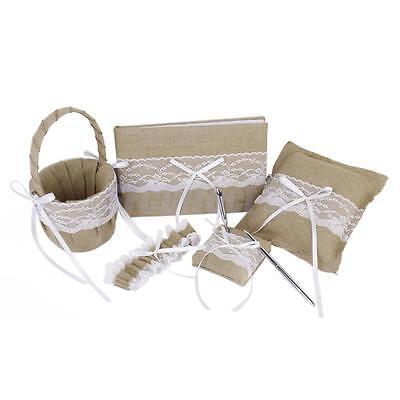 Burlap Lace Wedding Guest Book, Pen, Ring Pillow, Flower Basket, Garter Set
