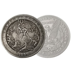 Silver-Morgan-Dollar-Hobo-Satanic-Devil-Satan-Lucifer-Carved-Fantasy-Occult-Coin