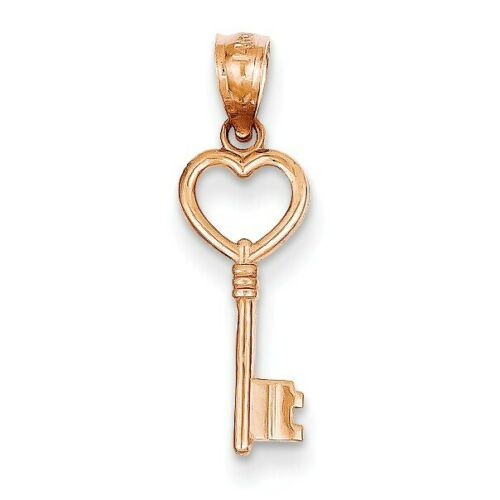 0.8IN long 14k Rose Gold Key to my Heart Pendant.