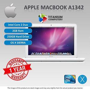 Apple-MacBook-A1342-uni-body-Core-2-Duo-2-26GHz-2-4GHz-2GB-250GB-DVD-Sierra-OS