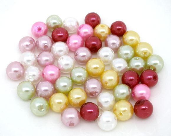 300 Mixte Perles en Acrylique Rond 8mm Dia.