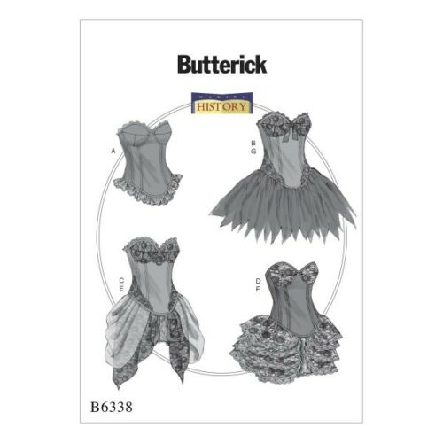 Butterick Sewing Pattern 6338 Misses/' Curve-Hem Corsets /& Skirts