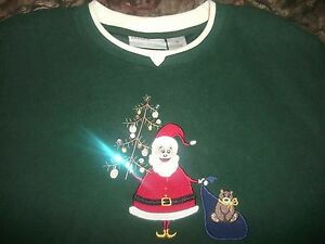 NWOT-Women-039-s-Alfred-Dunner-Green-Christmas-Sweater-Size-PL-B4