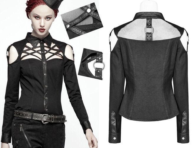Chemise gothique punk lolita militaire sexy liens épaule nu anneaux PunkRave