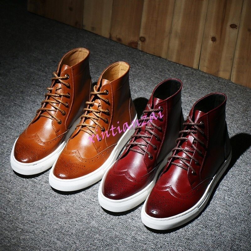 Mens Brogue Oxford Riding Military Leather Boots Lace Up High Top shoes British
