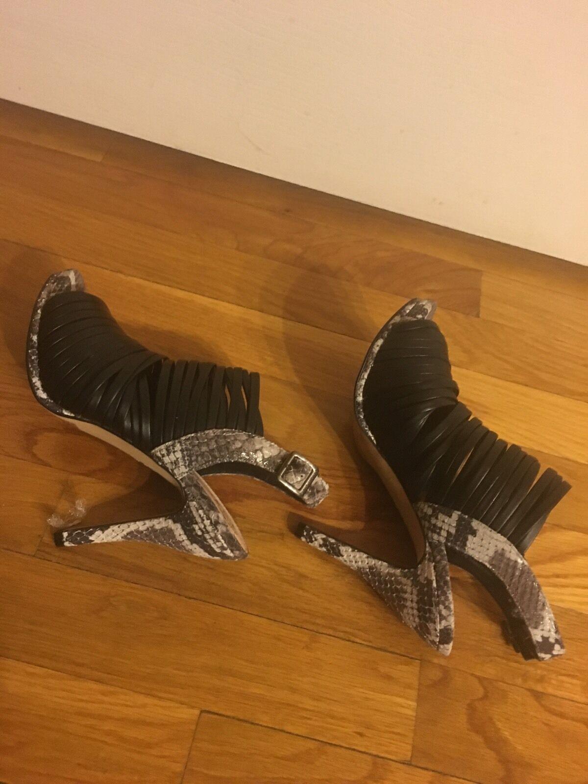 Vince Camino Snake Embossed Heel Striped Genuine Genuine Genuine Leather Open schuhe Sz6.5 NEW b5ee3c