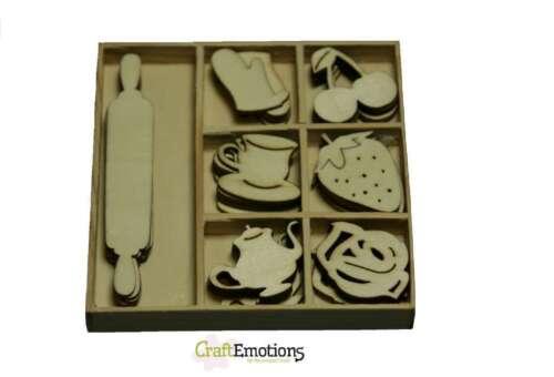 Craft emociones Caja De 35 De Madera Formas Adornos 50/'s Kitchen # 2 0102