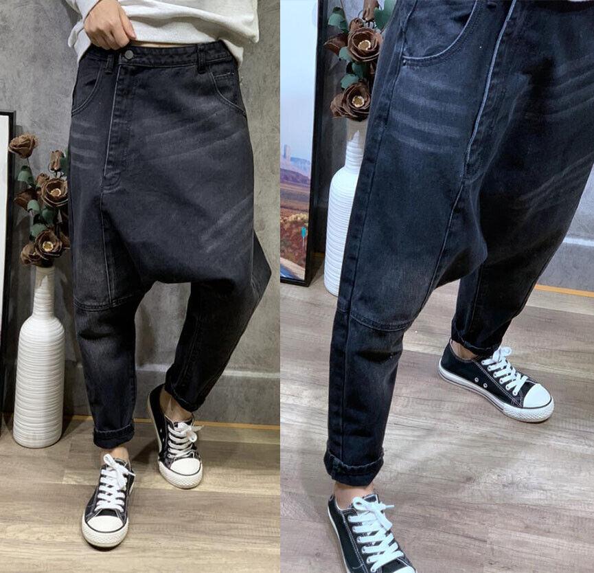 Womens Girls Casual Baggy Harem Denim Pants Trousers Hippie Loose Jeans Hip hop