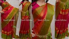 Uppada Zari Border Pure Soft Silk Checks Saree Hand Woven South India Pattu Sari
