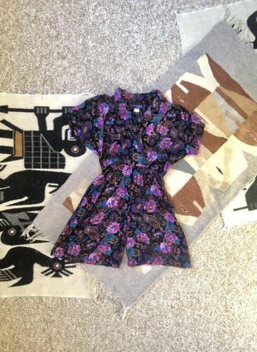 Vintage 80s Purple Black Floral Rayon Romper Play