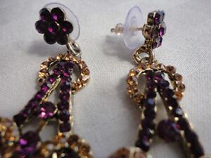 Ethnic-purple-amber-crystals-openwork-goldplated-7cm-23-gram-pierced-earrings
