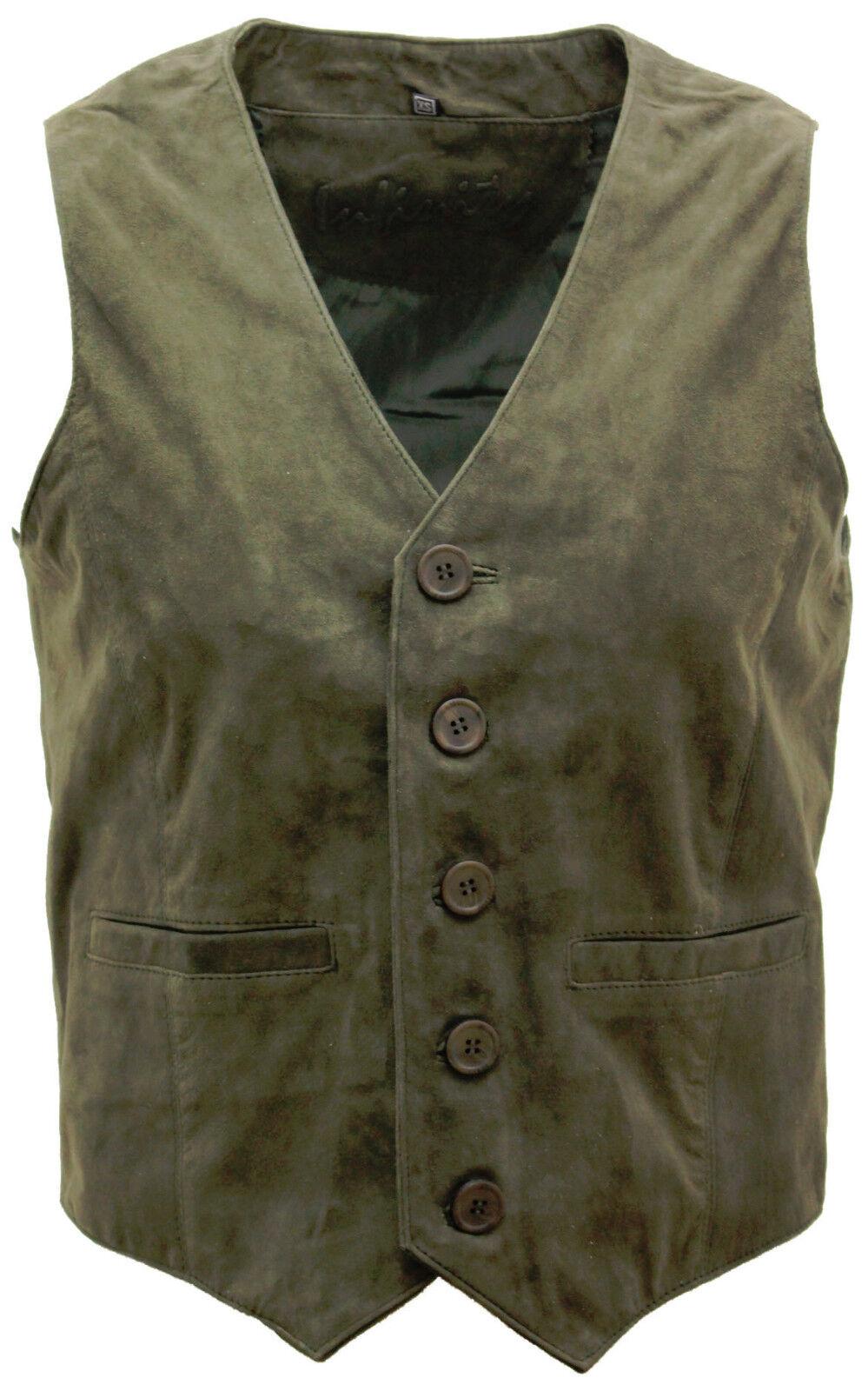 Men's Goat Suede Classic Smart Khaki Leather Waistcoat