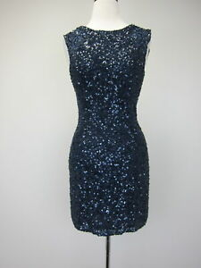 Scala-Women-039-s-Silk-Sequin-Sleeveless-Formal-Cocktail-Dress-Size-8-Navy-Blue