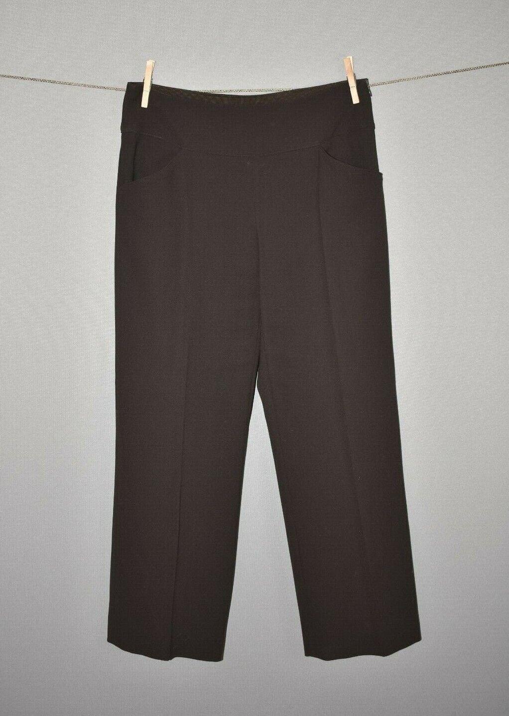 ARMANI COLLEZIONI  495 Brown Straight Leg Side Zip Wool Dress Pant Size 8