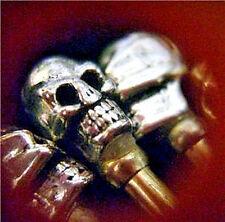 """4- Cribbage Pegs """"Avenger"""" Tibetan Silver Skull-Top, USA, Free Velvet Pouch"""