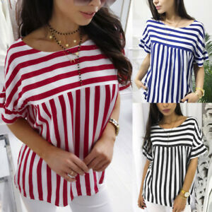 VT-Womens-Ladies-Summer-Loose-Casual-Striped-T-Shirt-Loose-Tops-Blouse-Size-S-XL