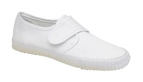 DEK R6305 Junior Touch Fastening Classic School Plimsolls All White