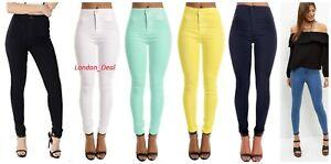 Senoras-DE-LA-ALTA-CINTURA-FLACA-Elastico-Tubo-Jeans-Jegging-tamano-de-Reino-Unido-4-6-8-10-12-14-16