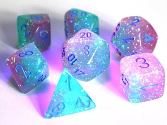 Chessex Lab Dice 3 Luminary Gemini Polyhedral Gel Green-Pink/blue 7-Die Set