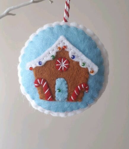 Feutre GINGERBREAD HOUSE CHRISTMAS TREE Hanging Décoration Fait Main cousue main