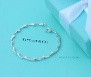AUTHENTIC-Tiffany-amp-Co-Sterling-Silver-Continuous-Teardrop-Bracelet-6-5-034-1099